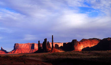 Dramatic dawn in Mystery Valley with the light striking the rock formations photo