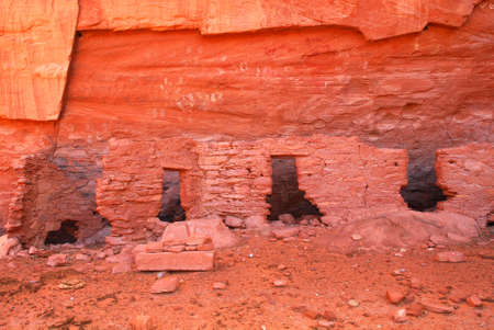the dwelling: Ancient Navajo Anasazi dwelling with petroglyphs in Mystery Valley