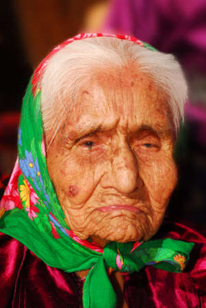 Portrait of a wrinkled 99 year old Navajo Native American woman Banco de Imagens - 5942419