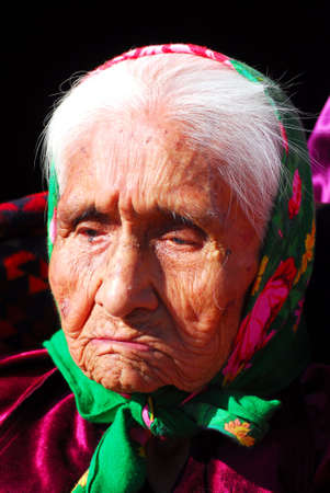 99 year old Navajo native american woman with a sad thoughtful expression Banco de Imagens