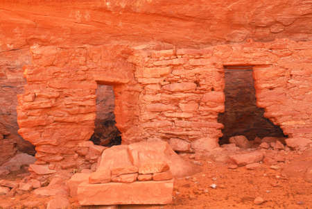 the dwelling: Ancient Navajo Anasazi dwelling with pictographs in Mystery Valley