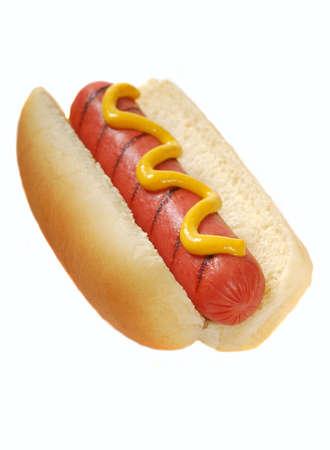 perro comiendo: Reci�n a la parrilla hot dog con mostaza amarillo