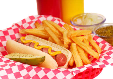 checker plate: Freshly grilled hot dog with french fries and condiments