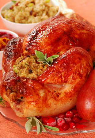 Roasted turkey with sage and bread stuffing