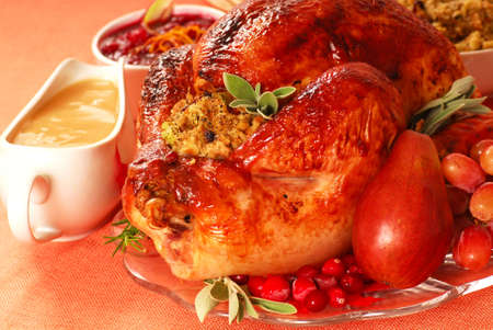 Turkey with stuffing, gravy, cranberry sauce with fresh fruit