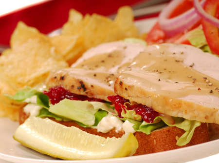 Turkey sandwich with potato chips and a dill pickle photo