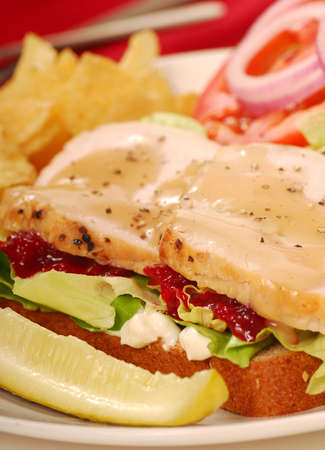 Turkey sandwich with potato chips and dill pickle photo