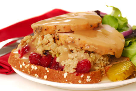 faced: Open faced turkey sandiwich with dressing, cranberry sauce and salad