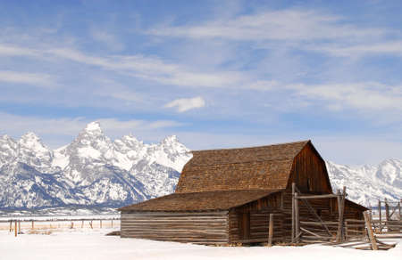 Winter view of the Moulton Barn in the Teton National Park photo