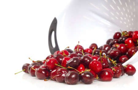 Freshly washed organic Bing Cherries in a colander Stock Photo - 7248269