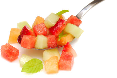 homestyle: Fresh fruit salsa containing watermelon, orange, cantaloupe, strawberries, musk melon and mint Stock Photo