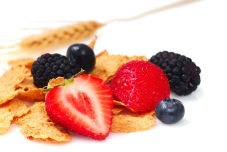 fortified: Crispy bran flakes with strawberries, blueberries, blackberries and a stalk of wheat