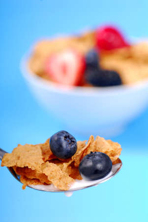 Spoonful of crispy bran flakes with fruit with bowl of cereal in the background Stok Fotoğraf