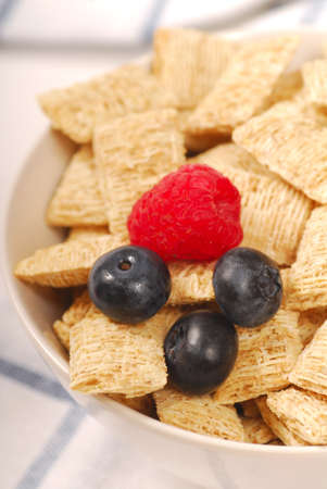 fortified: Crisp wheat cereal with blueberries and raspberries