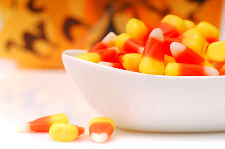 Sweet Halloween Candy Corn in a White Bowl photo