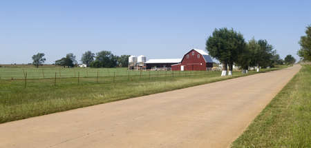 Farmland along Historic Route 66 in the state of Oklahoma Stock Photo - 8040515