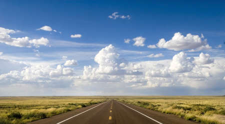 Beautiful stretch of road along Route 66 in Arizona Stock Photo