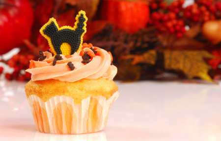 Delicious Halloween cupcake with butter cream frosting and fall foliage in the background photo
