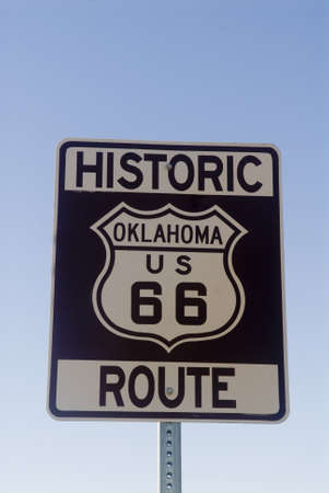 Historic Route 66 sign from the state of Oklahoma Stock Photo