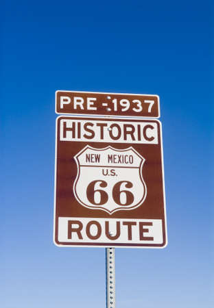 Sign showing the historic pre 1937 Route 66 in New Mexico photo