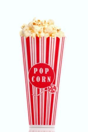 Red and white box of movie popcorn