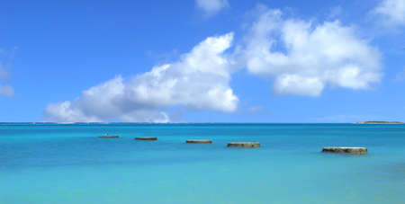 aruba: Beautiful coastal bay in Aruba with stone pillars in the water