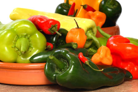 Variety of colorful chili peppers on display Stock Photo - 10426929