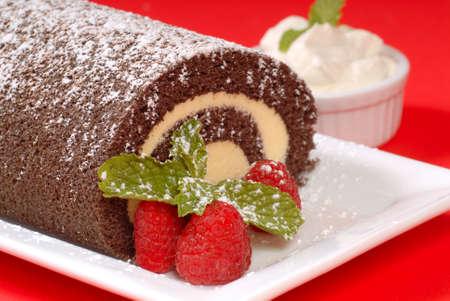 Delicious Christmas Buche de Noel cake with raspberries, whipped cream and powdered sugar Standard-Bild