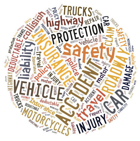 Circular word cloud showing words that deal with vehicle insurance Stock Photo
