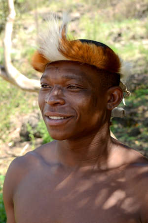 Gauteng, Lesedi Cultural Village. South Africa - 12 March, 2016. Zulu Warrior portrait. Zulu is one of the main tribes located in South Africa. The Zulu tribe were known for their fierce fighting skills.