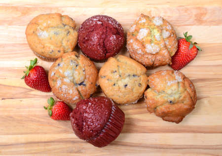 Overhead shot of a variety of delicious muffins Stock Photo