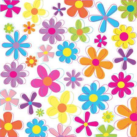 Retro flowers illustration Vettoriali