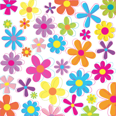 Retro flowers illustration Illustration