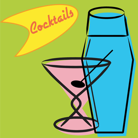 kitsch: Retro martini and shaker with funky cocktail sign