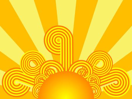 Retro sunrise Ilustrace