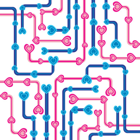 Retro hearts and pipes background Ilustrace