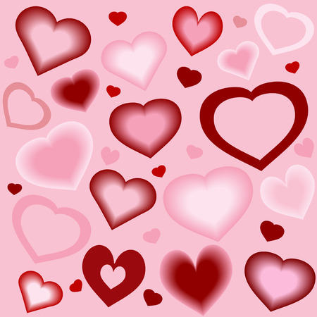 Stylized hearts in differing shapes, colors, and blends  Ilustrace