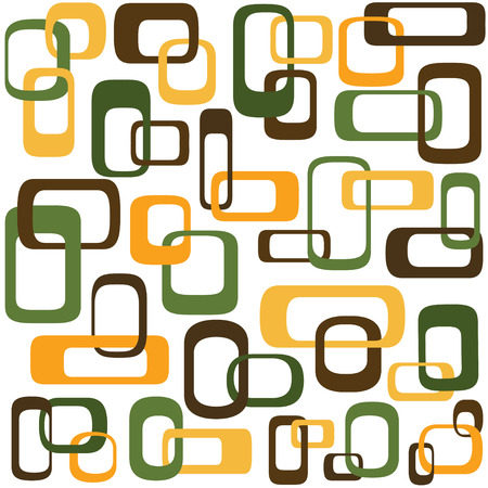 Retro styled interlocking squares in shades of green brown and orange - AI CS2 file included in zip Illustration