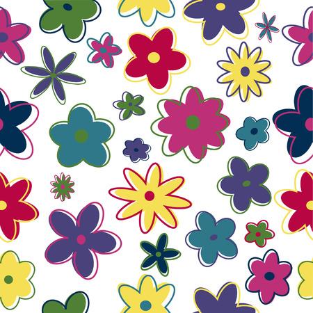 siebziger jahre: Seamless Retro-Blumen in trendigen Farben
