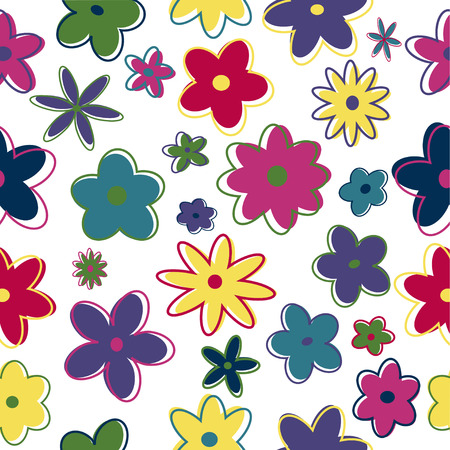 abstract flowers: Seamless retro flowers in trendy colors