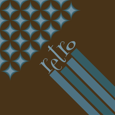 Funky retro geometric background in blue and brown
