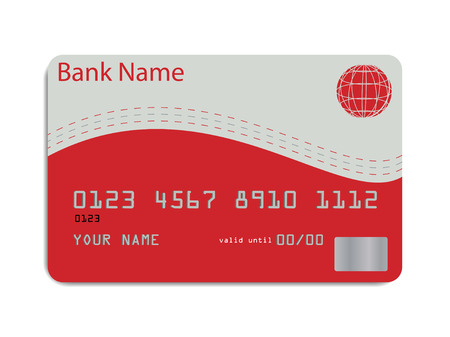 Vector of a styled credit card in red and silver tones 矢量图像