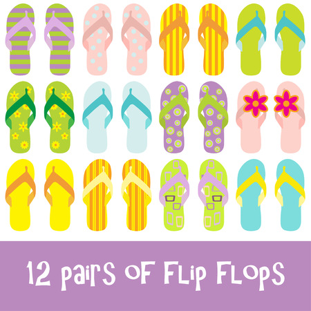12 pairs of brightly colored flip flops - thongs Stock Vector - 4948689