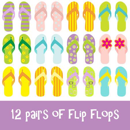 sandalia: 12 pares de chanclas de colores brillantes - tangas
