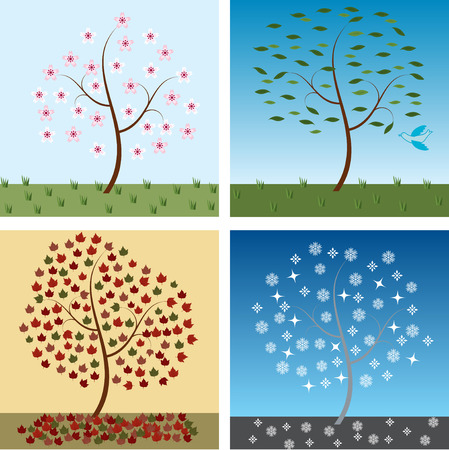 Seasonal trees for spring, summer, autumn, and winter
