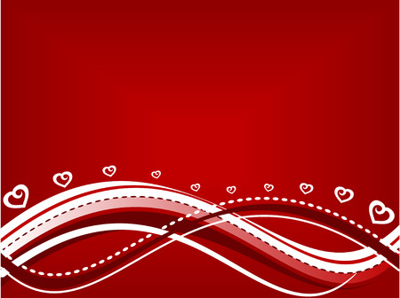 Abstract wavy valentines day background in red and white - AI CS2 file included in zip Ilustrace