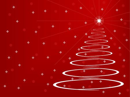 Arbre de Noël stylisé sur fond rouge avec des flocons de neige et les étoiles Banque d'images - 5249694