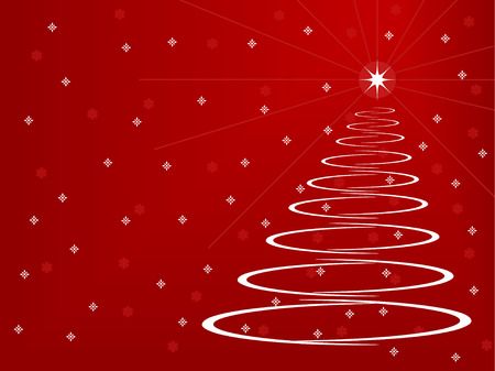 Stylized Christmas Tree on a red background with snowflakes and stars Ilustrace