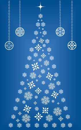 Christmas tree made up of snowflakes and diamond shapes surrounded by ornaments Ilustrace