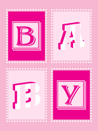 Girl Announcement Card with funky lettering